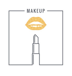 makeup lipstick logo design background vector image