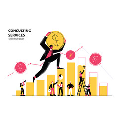 man climbs chart and carries dollar coin vector image