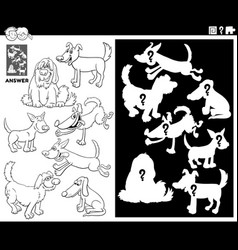 Matching shapes game with dogs coloring book page vector