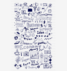 Mega set of business and finance hand drawn doodle vector