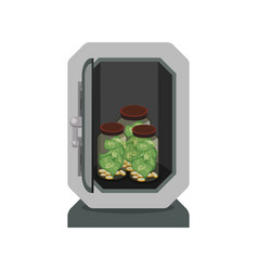 Metal strong box with coins and glass bottles with vector