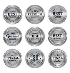 metalic silver seal badges labels vector image