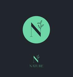 N letter monogram cosmetic organic logo vector
