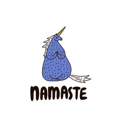 Namaste mood with unicorn vector