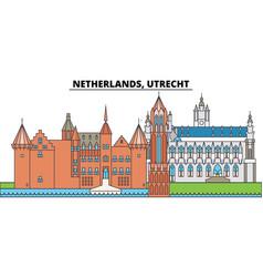 netherlands utrecht city skyline architecture vector image