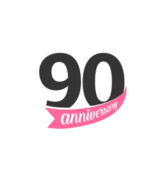ninetieth anniversary logo number 90 vector image