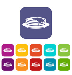 Pancakes icons set vector