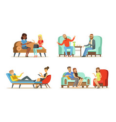 people sitting and lying on couch talking with vector image