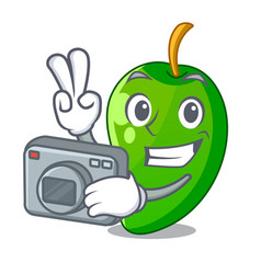 photographer green mango in the cartoon shape vector image