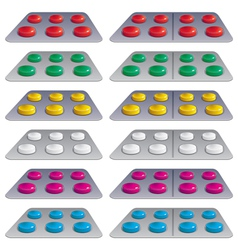 Pills in blisters vector