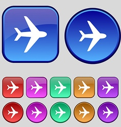 Plane icon sign A set of twelve vintage buttons vector