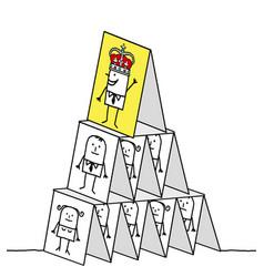 Powerful king cards pyramid vector