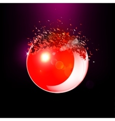 Red 3D ball exploded into pieces vector