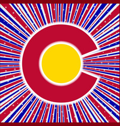 Red white and blue rays with colorado icon vector