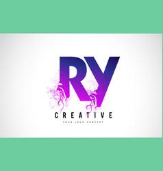 ry r y purple letter logo design with liquid vector image