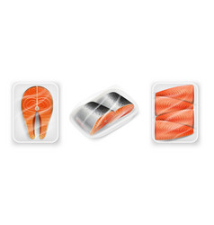 Salmon red fish steak package realistic vector