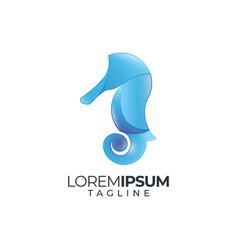 seahorse logo icon silhouette vector image