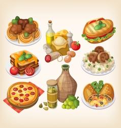 set italian food vector image