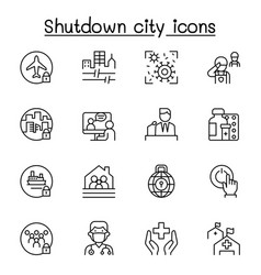 set lock down city from virus crisis related vector image