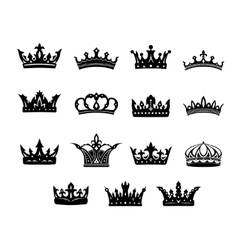 Set of black and white royal crowns vector