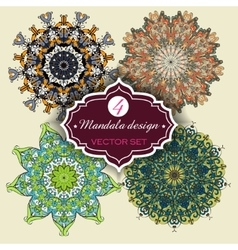 Set of Ornament round mandalas Geometric circle vector image