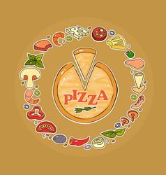 Set pizza ingredient icon vector
