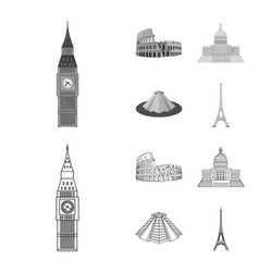 Sights of different countries outlinemonochrome vector