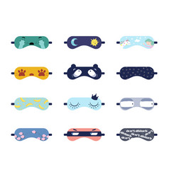 sleeping masks with cute prints vector image
