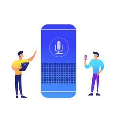 Smart speaker and two businessmen vector