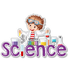 Sticker design with scientist doing experiment vector