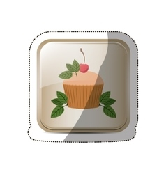 Sticker square button with cupcake and leaves vector