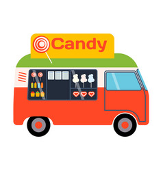 Street food festival candy trailer vector