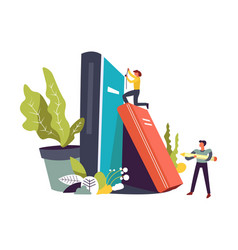 Studying books and person with pencil in hands vector