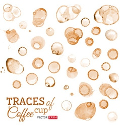 Traces of coffee cup isolated on white background vector