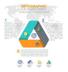 triangular diagram chart triangle with 3 steps vector image