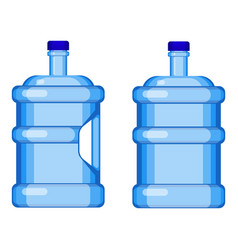 Two gallon water bottles with and without handle vector