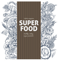 vertical banner with superfood sketch objects vector image