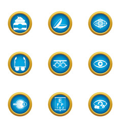 Vision control icons set flat style vector