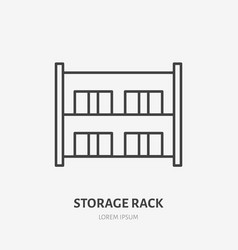 warehouse flat line icon storage rack with boxes vector image
