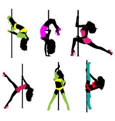 Women pole dance vector image