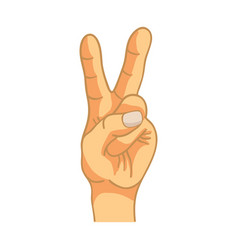 cartoon hand in victory gesture on white vector image vector image
