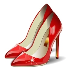 Cartoon Red Women Shoes on white background vector image vector image