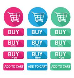 flat design button buy online shopping cart vector image vector image