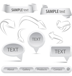 grey set arrows and banners elements vector image vector image