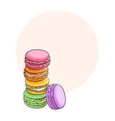 hand drawn stack of colorful macaron macaroon vector image vector image
