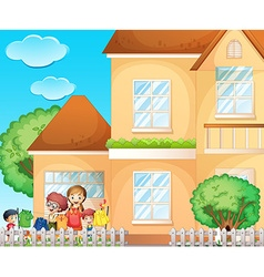 Kids doing laundry at home vector image