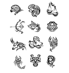 Set of black and white zodiac signs vector image vector image
