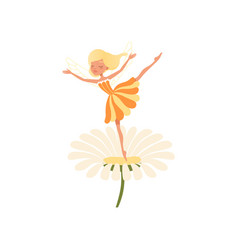 beautiful blond fairy dancing on daisy flower vector image