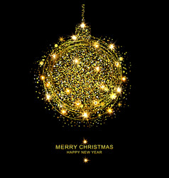golden christmas ball of sparkles vector image vector image