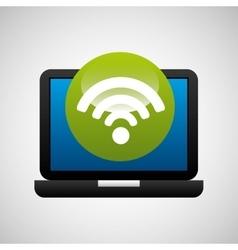 Laptop icon wifi social media vector